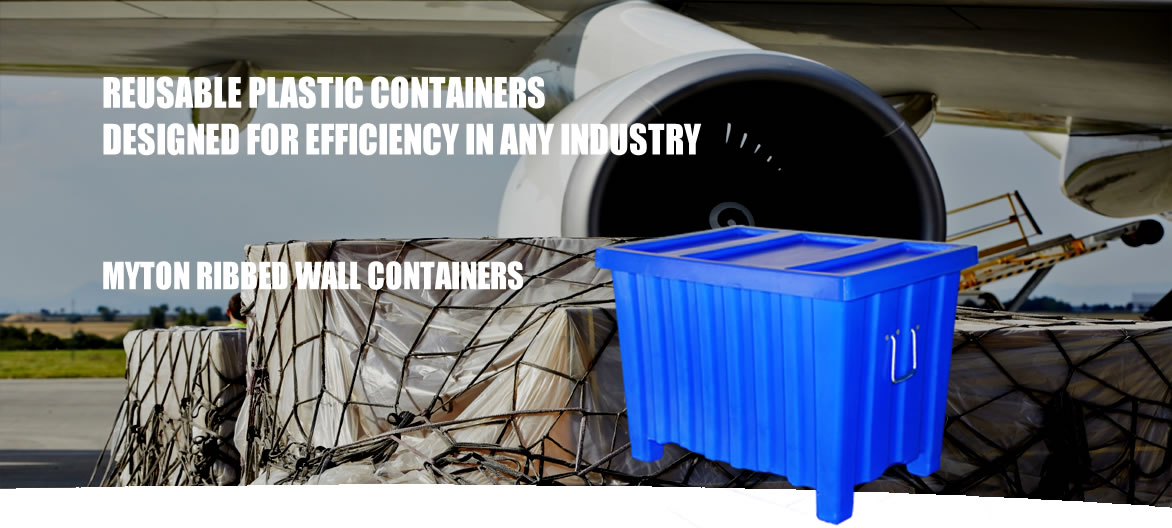 Myton reusable ribbed wall containers that stack and nest