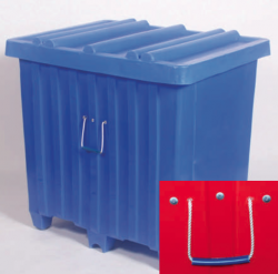 """The standard handle on most MYTON PLASTIC SHIPPING CONTAINERS is the ¼"""" nylon rope handle with a rubber grip"""