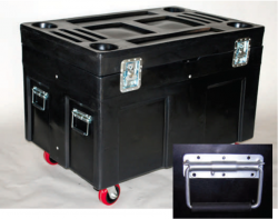 The standard handle on the ROAD CASE and SECURITY SHIPPING CONTAINERS is a spring-loaded surface chest handle with a rubber grip.