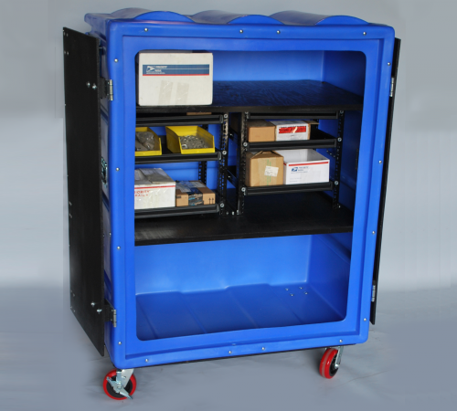 RTC-5829H6 BULK CART ON CASTERS, WITH CUSTOM DRAWERS